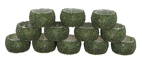 Schmetterling Gelber Ring (Shalinindia Perlen Serviettenringe - Set 12 Ringe - Grüne Serviettenringe Set - Durchmesser-1,5 Zoll)