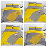 Adam Home 4PCS Complete Reversible Duvet Cover & Fitted Sheet Soft Micro Fiber Bedding Sets by TTO (Mustard Grey, Double)