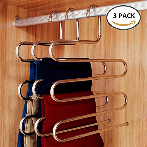 Kleiderbügel Hosenbügel Mehrfach Edelstahl Magic S-Type Platzsparend für hängende Schal Jeans Hose (3 STK)