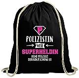ShirtStreet Geburtstags,- Jubiläums,- Ausbildungsgeschenk natur Turnbeutel mit Polizistin - Superheldin Motiv, Größe: onesize,schwarz natur