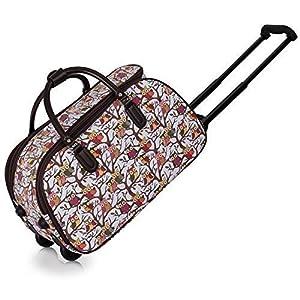 Ladies Travel Holdall Bags Hand Luggage Womens Owl Print Bag Weekend Wheeled Trolley Handbag
