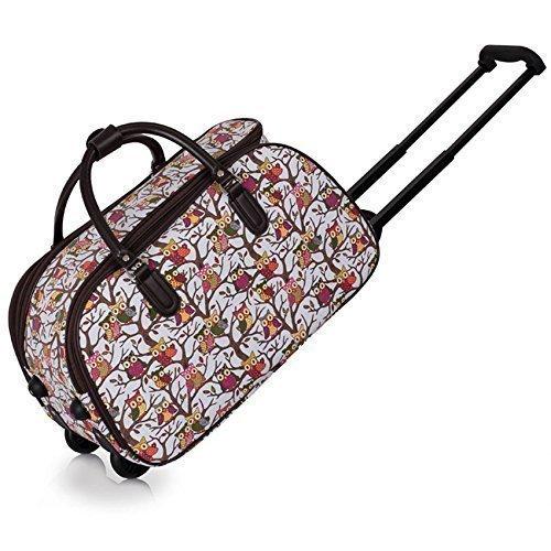 TrendStar Meine Damen Reisetaschen Holdall Frauen Handgepäcks Eule Print Wochenende Rolliges Laufwerk Handtasche Weiß