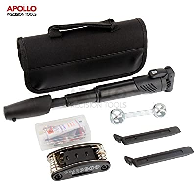 Apollo 28 Piece Bike Tool Kit Including Pump, Tire Repair Kit, Tire Levers, Compact 15-in-1 Multi-function Tool with Hey Keys, Sockets & Screwdrivers, Bone Wrench for Wheel Nuts - All in Carry Case by Apollo Hi-Spec Tools