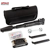 Apollo 28 pc Bike Tool Kit Including Pump, Tire Repair Kit, Tire Levers, Compact 15-in-1 Multi-function Tool with Hey Keys, Sockets & Screwdrivers, Bone Wrench for Wheel Nuts - All in Carry Case