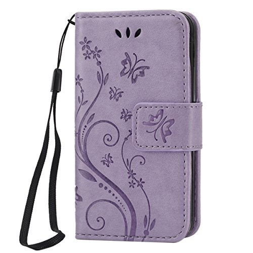 iPhone SE Hülle, iPhone 5S Hülle,iPhone 5 Hülle,SainCat iPhone 5S/SE Ledertasche Brieftasche im BookStyle Blumen-Fee Muster Prägung PU Leder Hülle Bling Diamant Wallet Case Folio Schutzhülle Bumper Ha Relief Schmetterling-Licht lila