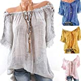 Hybreace Women T-Shirts Off Shoulder Short Sleeves Loose Breathable Casual Tops for Summer