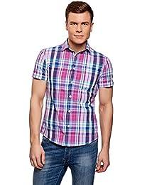 oodji Ultra Hombre Camiseta con Estampado Floral y Bolsillo en el Pecho