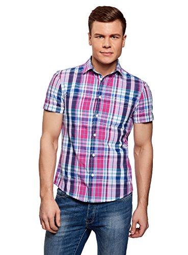 oodji Ultra Hombre Camisa a Cuadros con Bolsillo en el Pecho, сm 39,5 / ES 46-48 / S