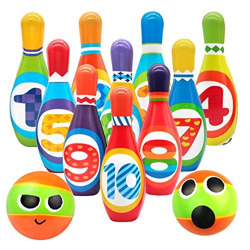 Bowling Kinder Kegelspiel Set Kegeln Spiel Bowlingkugel Boule-Spiel Draußen Indoor Spielzeug Geschenk für Kinder Jungen Mädchen ab 3 4 5 Jahre (10 Kegel und 2 Bälle), (MEHRWEG)