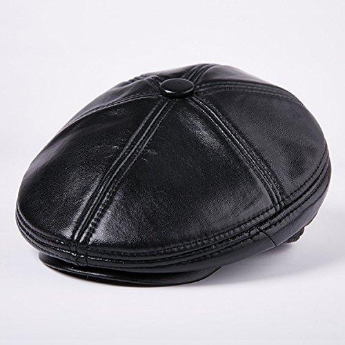 Ying xinguang Sombrero Moda Cuero Hombre Invierno Boina de Piel de Oveja al Aire Libre más Terciopelo Grueso (Color : Black, Size : XL)