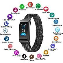 CJZSA Fitness Tracker, Smart Watch con pulsómetro y tensiómetro para iOS y Android, Resistente