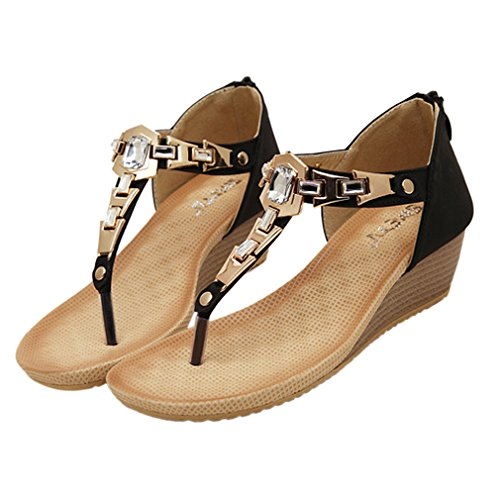 Y-BOA 1 Paire Sandales Compensées Femme Nu-Pied Entredoigts Strass Souple Chaussures Talon Noir