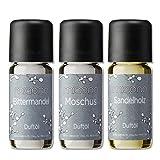 Duftöle von miaono - Wunderbare Welt der Düfte - Aromaöle für himmlichen Raumduft (Bittermandel-Moschus-Sandelholz, 3er Set 3x10ml)