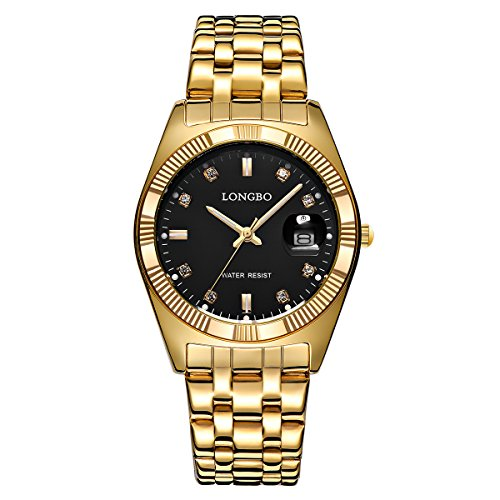 Longbo Luxus Full Gold Edelstahl Trageriemen Business Uhren Datejust setzt Herren Kleid Armbanduhr Slim Legierung Zifferblatt wasserdichte Herren Quarz Armbanduhr