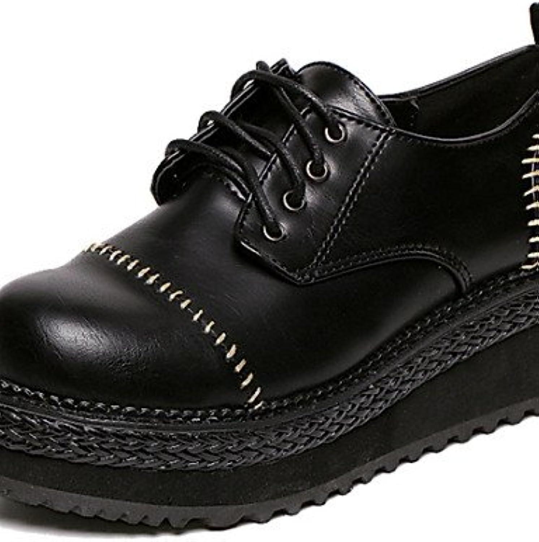 ZQ Zapatos de mujer - Tacón Cuña - Comfort - Oxfords - Exterior - Semicuero - Negro , black-us8 / eu39 / uk6 /...