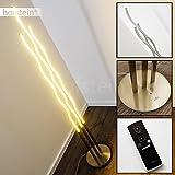 LED Stehleuchte aus Stahl in Nickel matt – LED Bodenleuchte für Schlafzimmer, Wohnzimmer - Leselampe dimmbar über eine mitgelieferte Fernbedienung - 3000 Kelvin - 3120 Lumen