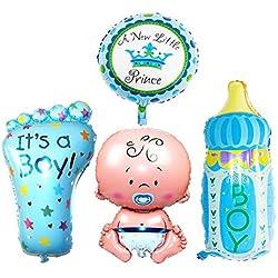 Tingtin 4 Piezas niño/niña lámina Globo de Helio recién Nacido Baby Shower Fiesta de cumpleaños decoración