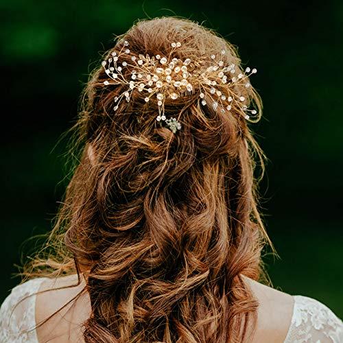 Wskderliner Haarnadeln Hochzeit Kopfschmuck mit Kristallen Braut Haarschmuck Haarkämme Perle Handgefertigt (Gold)