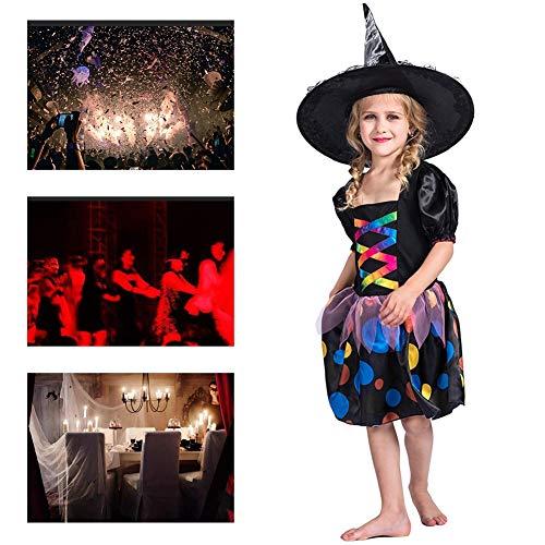 JH&MM Halloween Kostüm Kinder Mädchen Schwarz Tupfen Farbverlauf Hexe Rock Anzug Rollenspiel Maskerade Leistung,M