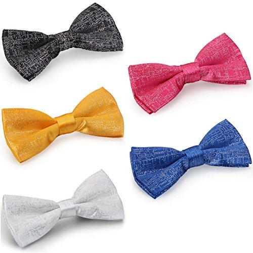Aroncent 5pcs Set Herren Fliege Schleife Krawatte Binder Schlips Querbinder Bow Tie Britischer Stil Kariert Verstellbar für Party Silvester Business, 5 Farben Stil Bow Tie