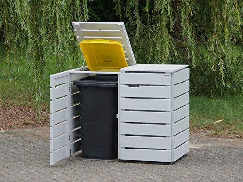 2er Mülltonnenbox / Mülltonnenverkleidung 120 L Holz, Deckend Geölt Lichtgrau