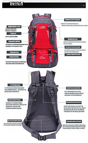LJ Sport Unisex Outdoor Rucksack Trekkingrucksack Wanderrucksack Wasserdicht Rucksack für Bergsteigen Wandern Radfahren Rot