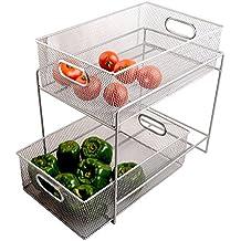 Callas 2 Tier Mesh Sliding Cabinet Basket Organizer Drawer,Silver, Ca3432