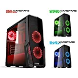 EMPIRE GAMING Boitier PC Gaming WareFare Noir LED Rouge : USB 3.0, 3 Ventilateurs LED 120 mm, paroi Latéral Transparente - ATX/mATX/mITX