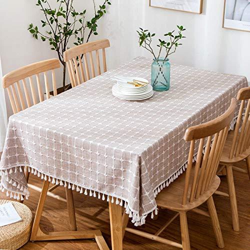 xsongue tischdecke Tischtuch Tablecloth Rechteckig Weiß Gestreifte Rosa Wasserdichte Tischdecke Leinen Zu Hause Stoff Stoff Desktop Dekoration Küche Picknick-Party-Tisch 140 * 140cm B