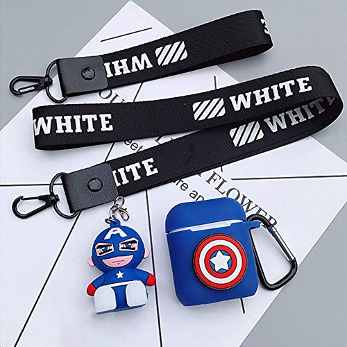 on Silicone The Avengers Case Protective Holder Bag for AirPods Apple Headset Accessories(Captain America) ()