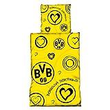 Borussia Dortmund BVB Bettwäsche mit Herzen, Baumwolle, Schwarz/gelb, 135 x 200 x 2 cm, 1 Einheiten