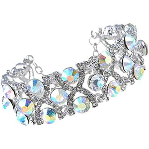 Alilang plata tono claro iridiscente Cristal Colores Brillantes jaula princesa pulsera