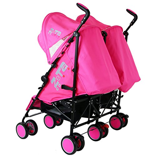 Zeta Citi TWIN Stroller Buggy Pushchair – Raspberry Pink Double Stroller
