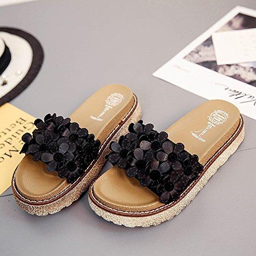 XY&GKLes femmes Sandales femme porter des pantoufles glisser mot Muffin d'été Chaussures de filles All-Match Black