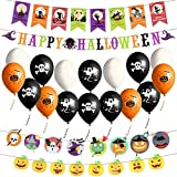 Yokunat Halloween Dekorationen Banner Set, Happy Halloween 4 Stücke Banner + 16 Stücke Ballon für Halloween Party Hängende Dekoration