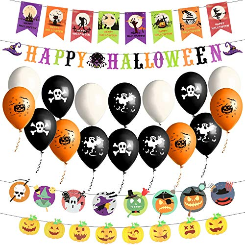 Yokunat Halloween Dekorationen Banner Set, Happy Halloween 4 Stücke Banner + 16 Stücke Ballon für Halloween Party Hängende Dekoration (Ballon Dekoration Halloween)