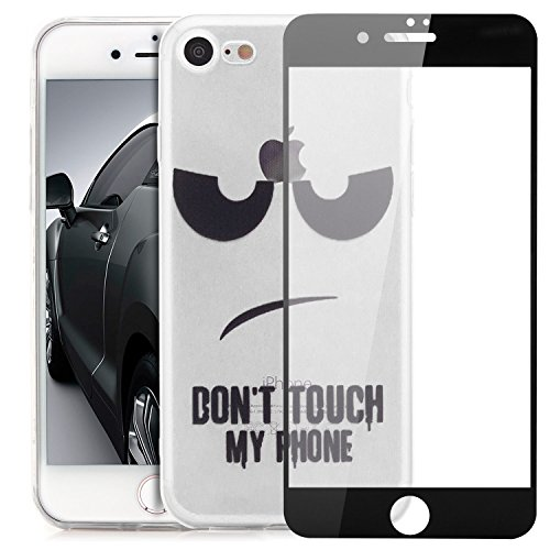 Custodia iPhone 7 / iPhone 8 (4,7) Cover + Vetro Temperato (Copertura Completa) Silicone Slim Case [Saxonia] Custodia sottile e Flessibile con Design/Motivo Motiv Dont Touch My Phone Transparent Vetro Nero