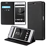 ECENCE Sony Xperia Z5 Compact Handy-Tasche Flip Cover Book Case Schutz-Hülle Etui Wallet Schale Schwarz 24010207