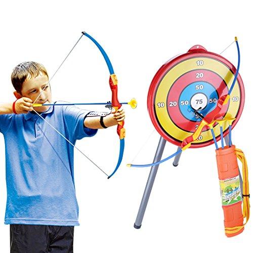 Rolanli Pfeil und Bogen Kinder Emulational Kunststoff Spielzeug Schießen Spiel Spielzeug mit 1 Bogen 3 Pfeile 1 Ziel und 1 Köcher