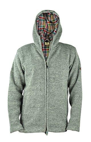 virblatt Giacca uomo foderata di lana nelle taglie S, M, L, XL felpa di lana con cappuccio 100% lana naturale - Everest Grey L