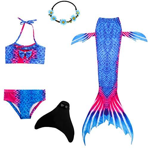 UrbanDesign Meerjungfrau Flosse Zum Schwimmen Flossen Für Mädchen Kinder Mit Bikini, 5-6 Jahre, Blauer Fisch (Schwimmen Bekleidung Mädchen)