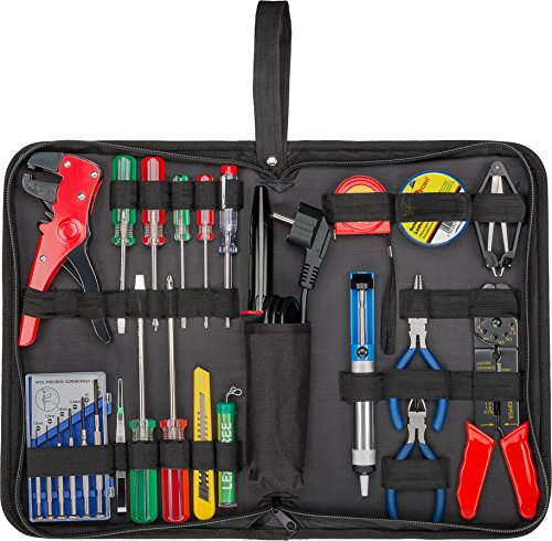 Fixpoint 45243–Bolsa de herramientas con soldador Juego de herramientas en práctica bolsa, 20piezas)