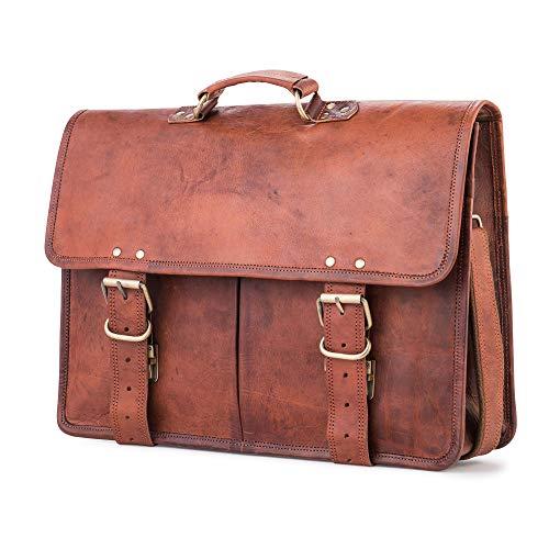 Berliner Bags Amsterdam Businesstasche Aktentasche Arbeitstasche Bürotasche Umhängetasche Laptoptasche 17 Ledertasche Vintage Collegetasche Braun Herren Damen Groß