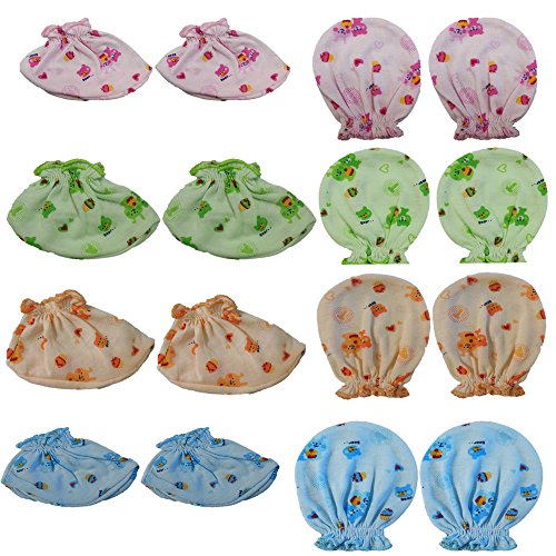 My Baby Cotton Mittens and Booties, 0-6 Months (Multicolour, MB_SET2) - Combo of 8