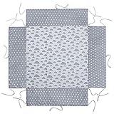 LULANDO Laufgittereinlage Laufstalleinlage und Schutzeinlage mit Seitenpolsterung (75x100 cm oder 100x100 cm). Kuschelig weich und warm gepolstert. Farbe: Grey Clouds / Stars Grey, Größe:100 x 100 cm