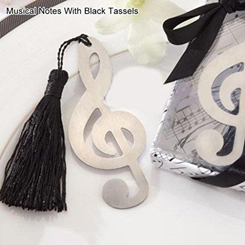 Hearsbeauty moda fiocco di neve in acciaio INOX farfalla nappa segnalibro bomboniera regalo, Black Tassels, Musical Notes