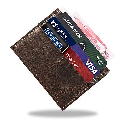 Portafoglio sottile, Mini Portafoglio Porta Carte di Credito, Portafoglio Slim Uomo e Donna, Porta Carte Banconote e Credito, Vera Pelle Sacchetto di Carte Marrone