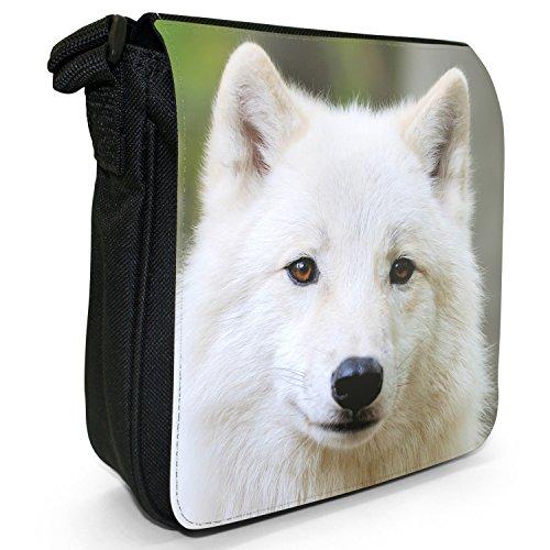 Wolves Wolf-Borsa a spalla piccola di tela, colore: nero, taglia: S Nero (White Wolf In Forest)