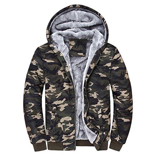 SUCES Herren Camouflage Hoodie Winter warme Fleece Zipper Sweater Jacke Outwear Mantel Kapuzenpullover Gefütterte Sweatjacke Zip-Hoodie Jacke mit Kapuze Winter Kapuzenpullis (Multicolor, 4XL) (3-tasten-sweatshirt Für Männer)