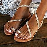 MongGood Mujer Boho Cristal Sandalias Cruzado Anillo para Dedo Sandalias Planas para el Verano - 38